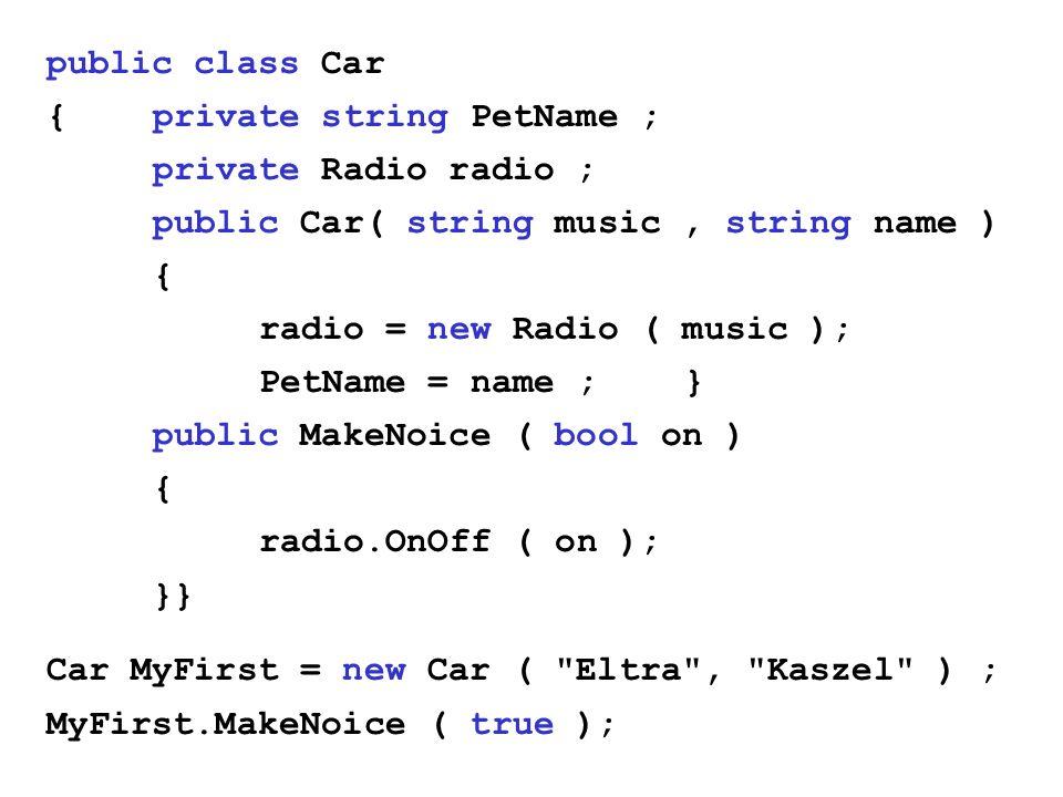 public class Car{ private string PetName ; private Radio radio ; public Car( string music , string name )