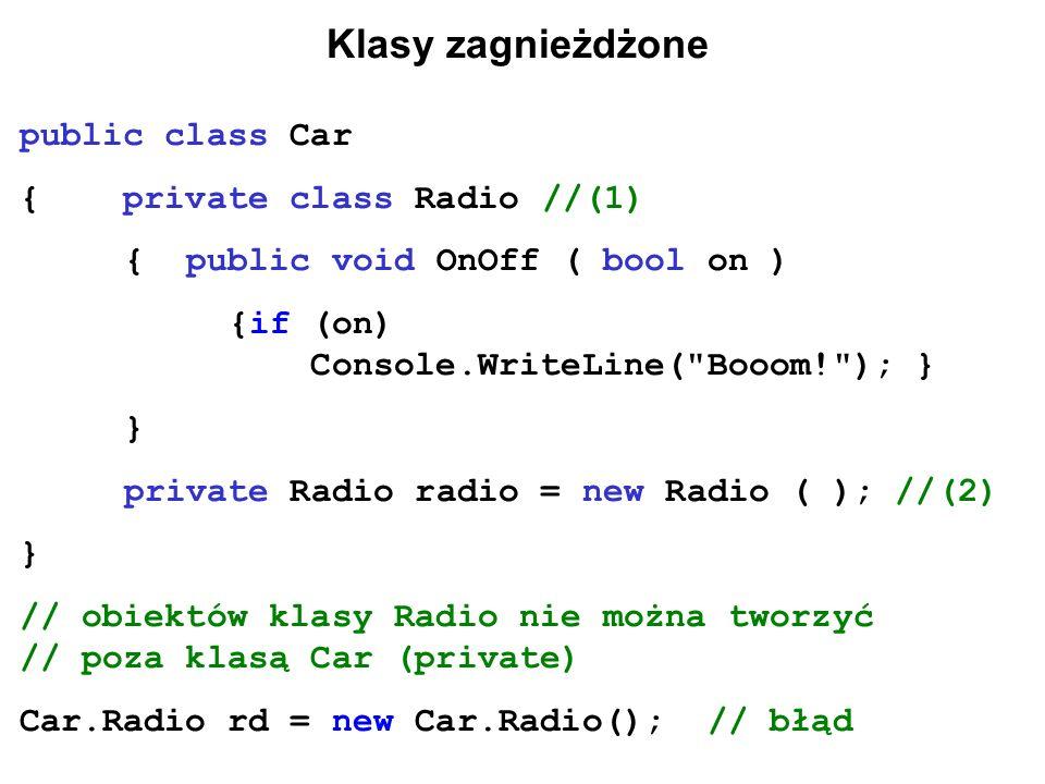 Klasy zagnieżdżone public class Car { private class Radio //(1)