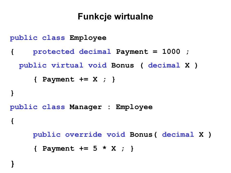 Funkcje wirtualne public class Employee