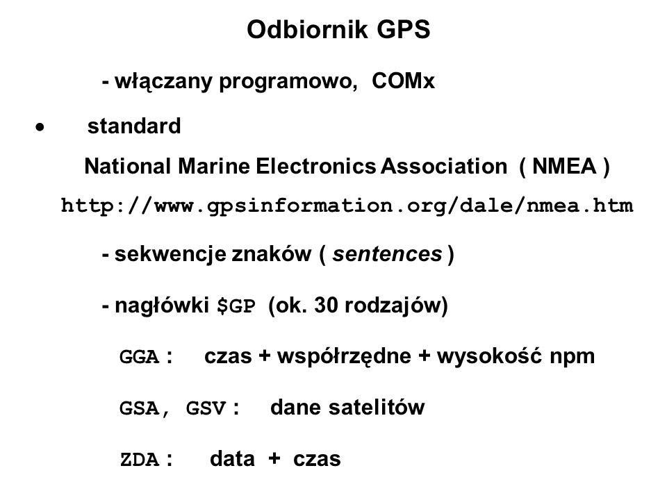 Odbiornik GPS - włączany programowo, COMx  standard