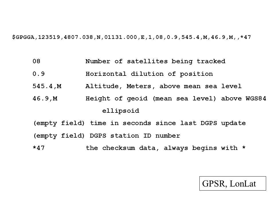 GPSR, LonLat 08 Number of satellites being tracked