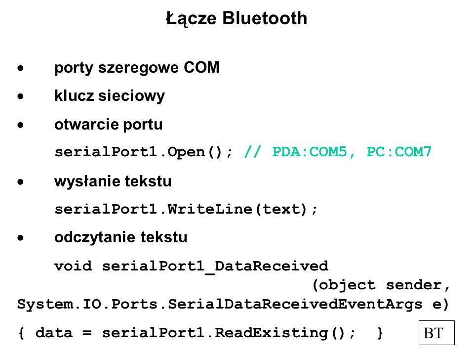 Łącze Bluetooth  porty szeregowe COM  klucz sieciowy