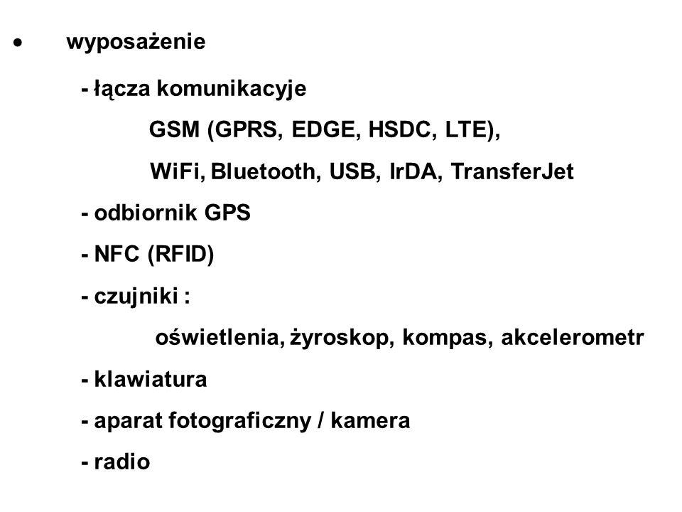  wyposażenie - łącza komunikacyje. GSM (GPRS, EDGE, HSDC, LTE), WiFi, Bluetooth, USB, IrDA, TransferJet.
