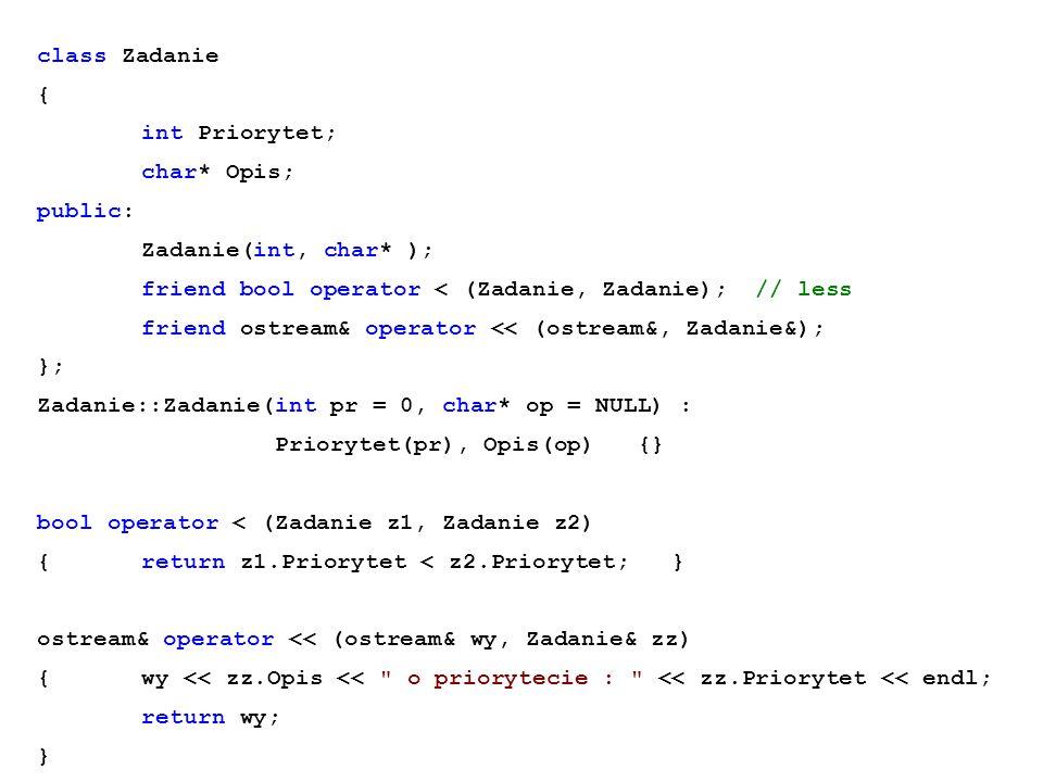 class Zadanie { int Priorytet; char* Opis; public: Zadanie(int, char* ); friend bool operator < (Zadanie, Zadanie); // less.