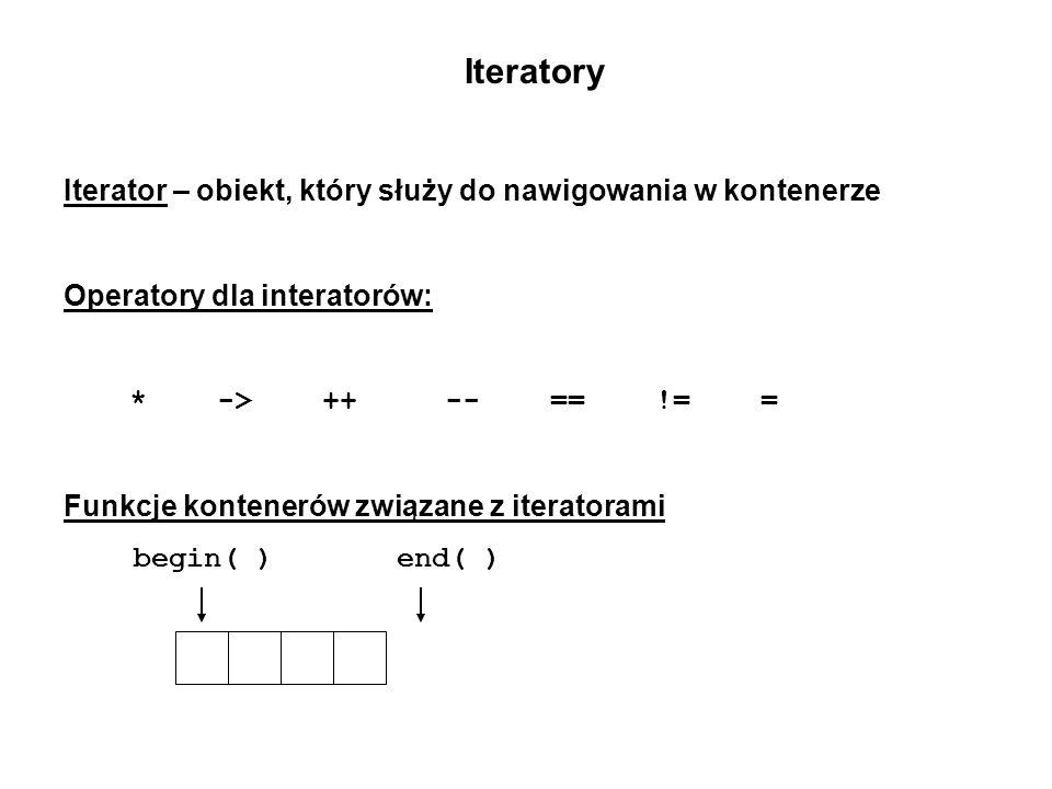 Iteratory Iterator – obiekt, który służy do nawigowania w kontenerze