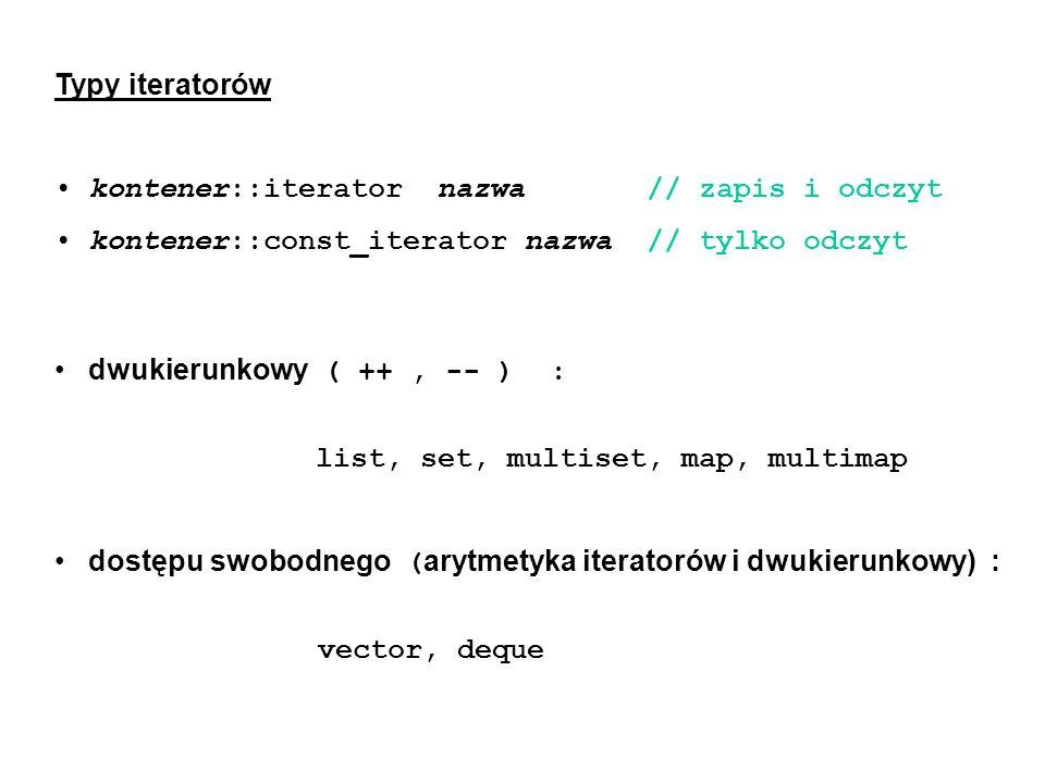 Typy iteratorów kontener::iterator nazwa // zapis i odczyt. kontener::const_iterator nazwa // tylko odczyt.