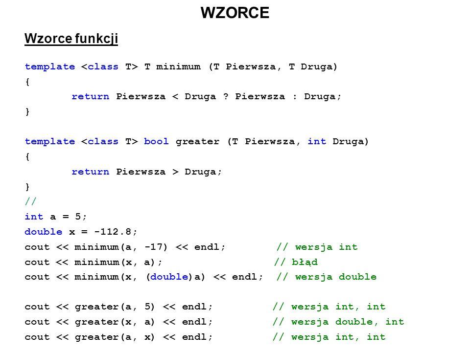 WZORCE Wzorce funkcji. template <class T> T minimum (T Pierwsza, T Druga) { return Pierwsza < Druga Pierwsza : Druga;