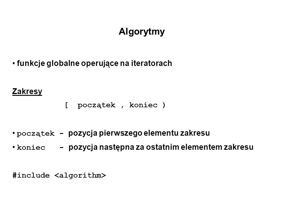 Algorytmy funkcje globalne operujące na iteratorach Zakresy