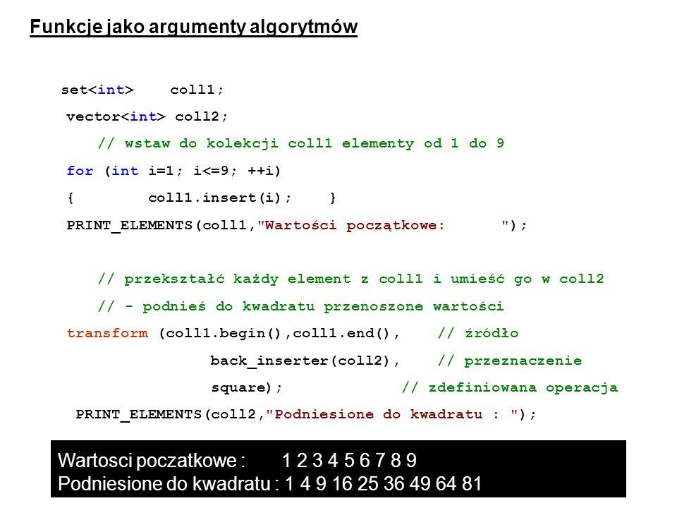 Funkcje jako argumenty algorytmów