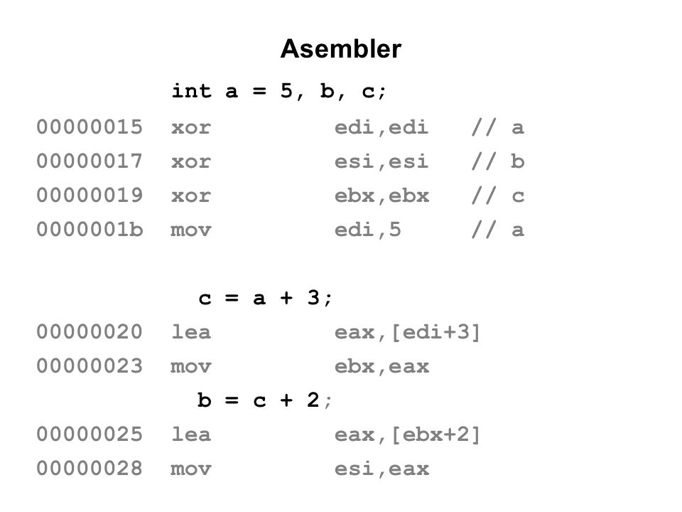 Asembler int a = 5, b, c; 00000015 xor edi,edi // a
