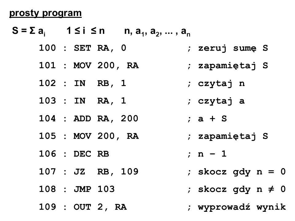 prosty program S = Σ ai 1 ≤ i ≤ n n, a1, a2, ... , an. 100 : SET RA, 0 ; zeruj sumę S.