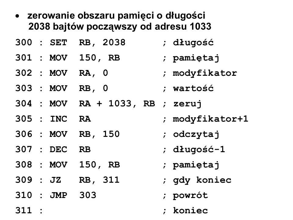 zerowanie obszaru pamięci o długości 2038 bajtów począwszy od adresu 1033