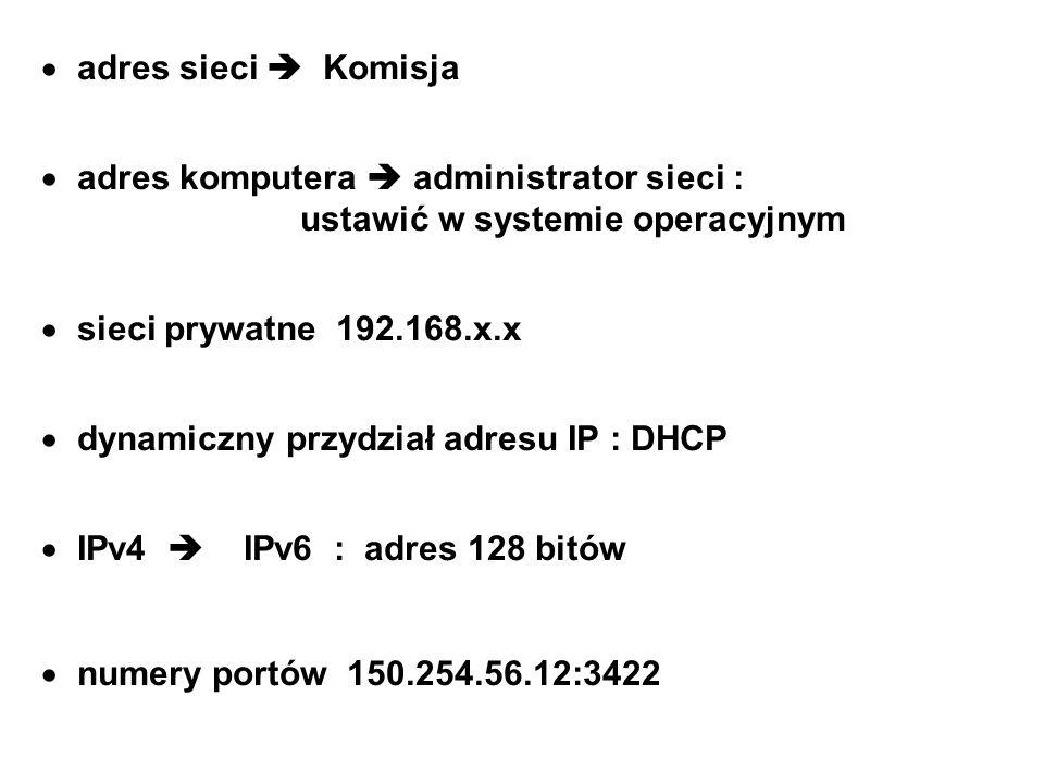 adres sieci  Komisja adres komputera  administrator sieci : ustawić w systemie operacyjnym.