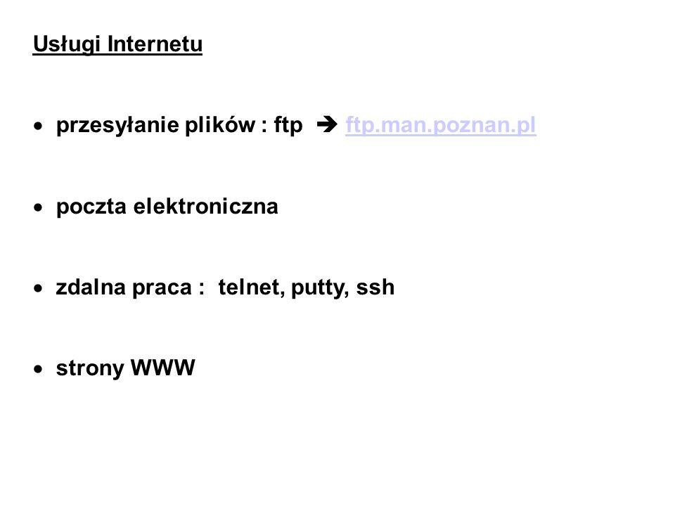 Usługi Internetu przesyłanie plików : ftp  ftp.man.poznan.pl. poczta elektroniczna. zdalna praca : telnet, putty, ssh.