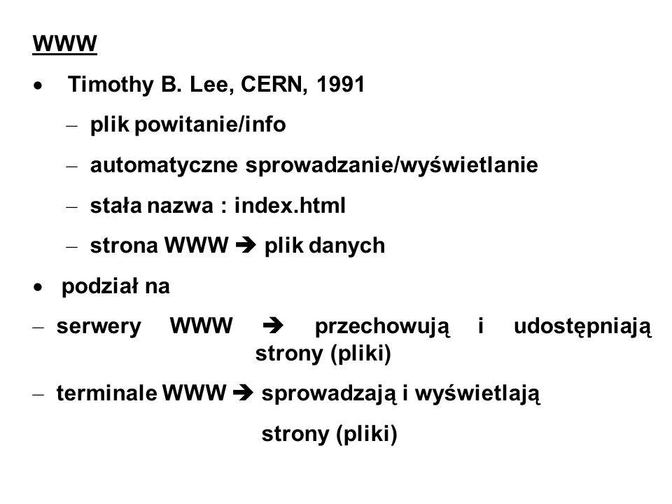 WWW Timothy B. Lee, CERN, 1991. plik powitanie/info. automatyczne sprowadzanie/wyświetlanie. stała nazwa : index.html.