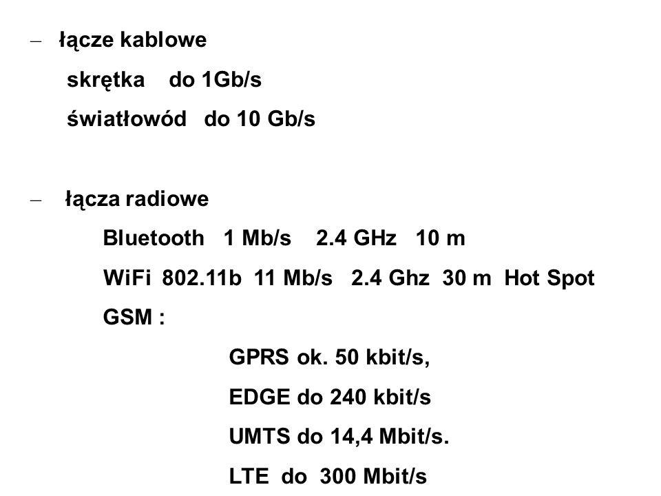 łącze kablowe skrętka do 1Gb/s. światłowód do 10 Gb/s. łącza radiowe. Bluetooth 1 Mb/s 2.4 GHz 10 m.