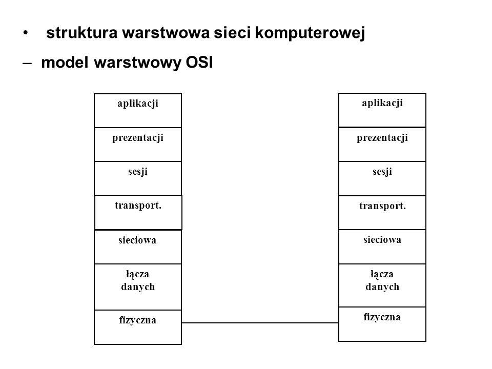struktura warstwowa sieci komputerowej model warstwowy OSI