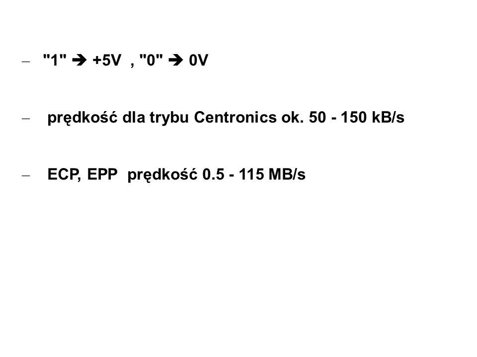 1  +5V , 0  0V prędkość dla trybu Centronics ok.