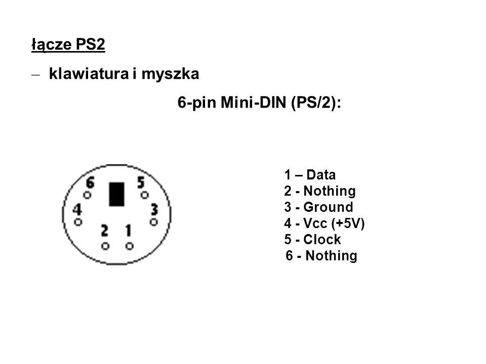 łącze PS2 klawiatura i myszka 6-pin Mini-DIN (PS/2): 1 – Data
