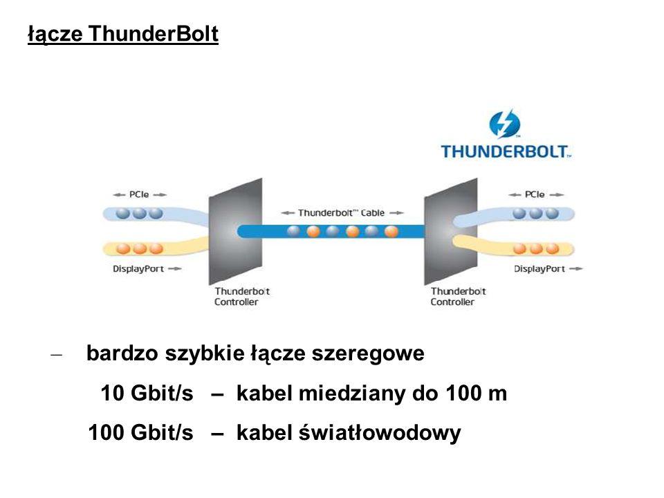 łącze ThunderBolt bardzo szybkie łącze szeregowe. 10 Gbit/s – kabel miedziany do 100 m.