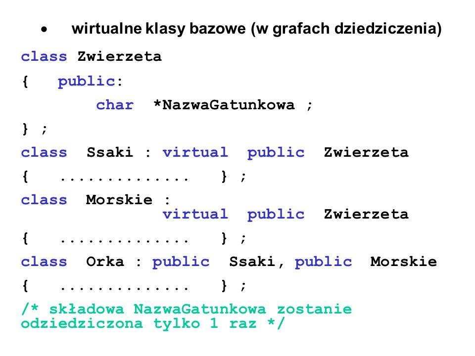 · wirtualne klasy bazowe (w grafach dziedziczenia)