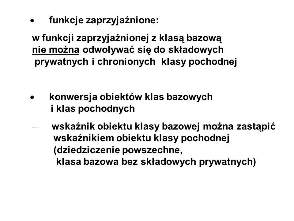· funkcje zaprzyjaźnione: