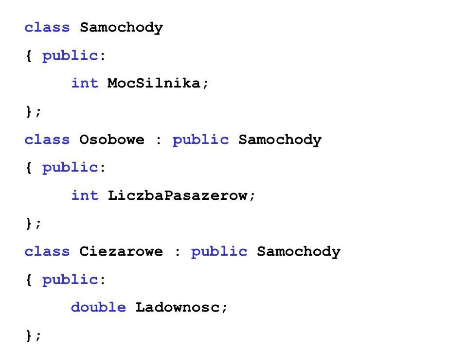 class Samochody { public: int MocSilnika; }; class Osobowe : public Samochody. int LiczbaPasazerow;