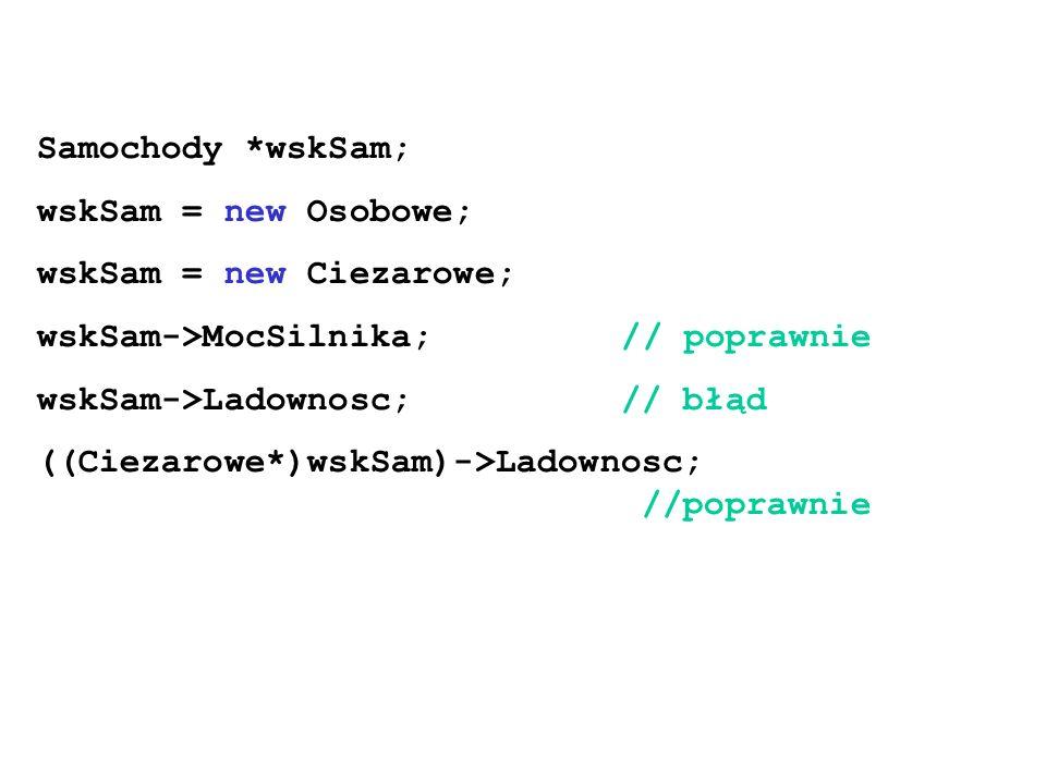 Samochody *wskSam; wskSam = new Osobowe; wskSam = new Ciezarowe; wskSam->MocSilnika; // poprawnie.