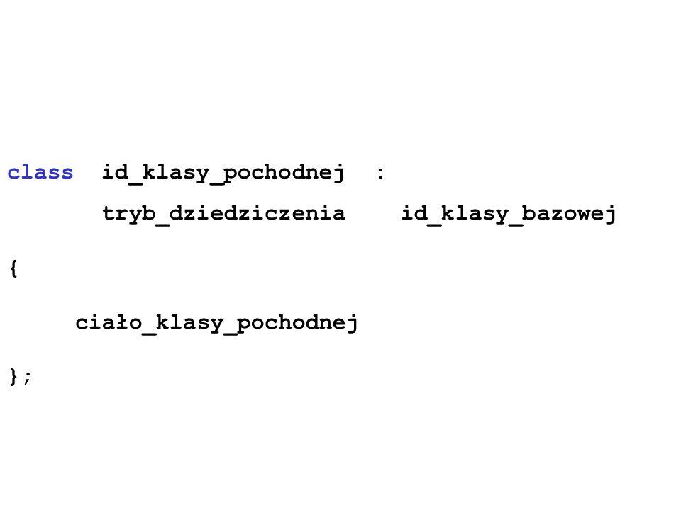 class id_klasy_pochodnej : tryb_dziedziczenia id_klasy_bazowej