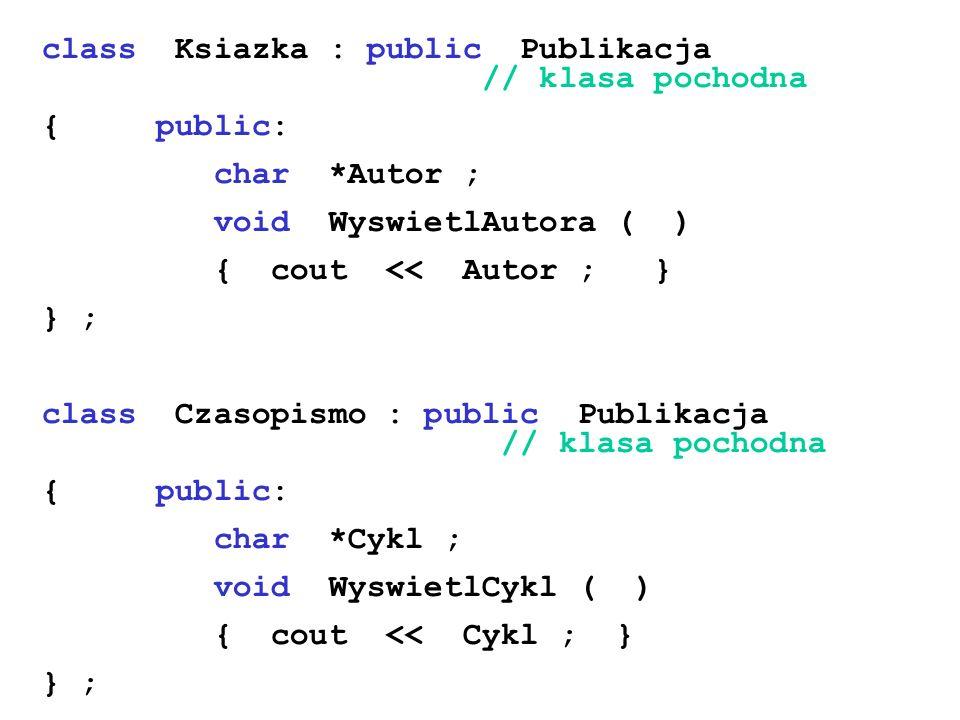 class Ksiazka : public Publikacja // klasa pochodna
