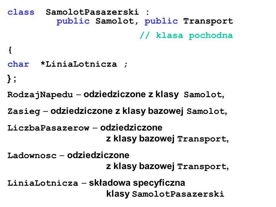 class SamolotPasazerski : public Samolot, public Transport