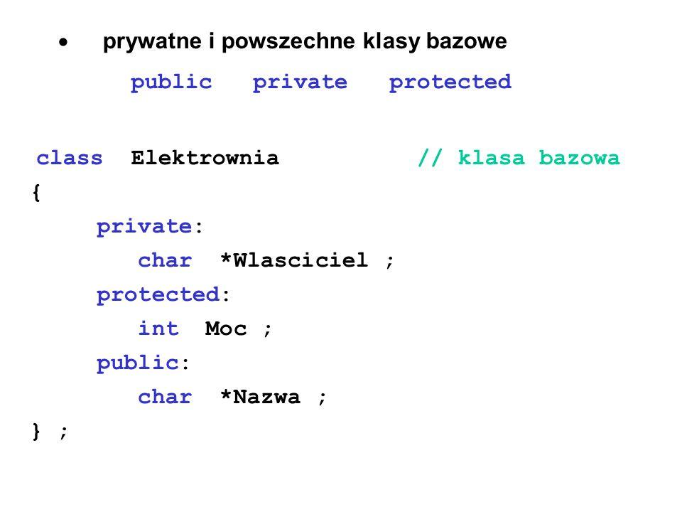 · prywatne i powszechne klasy bazowe