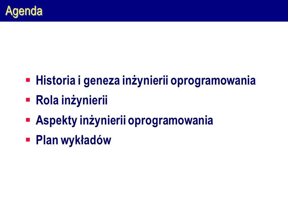 Agenda Historia i geneza inżynierii oprogramowania. Rola inżynierii. Aspekty inżynierii oprogramowania.