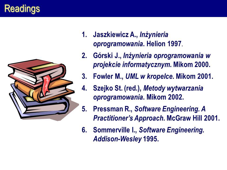 Readings Jaszkiewicz A., Inżynieria oprogramowania. Helion 1997.