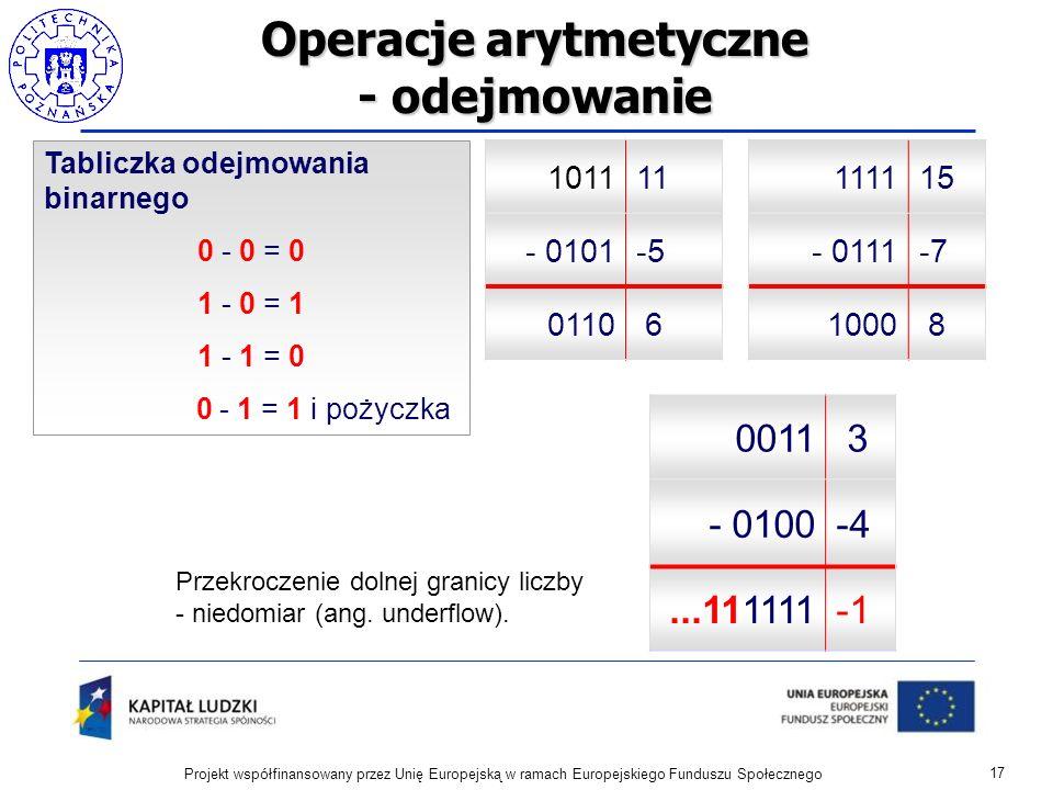 Operacje arytmetyczne - odejmowanie