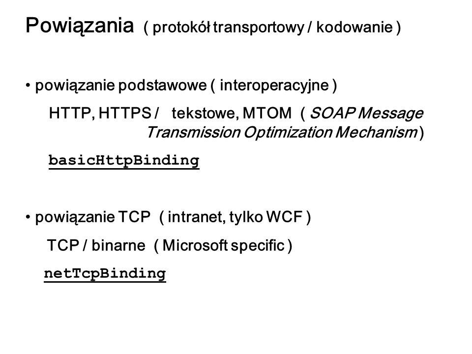 Powiązania ( protokół transportowy / kodowanie )