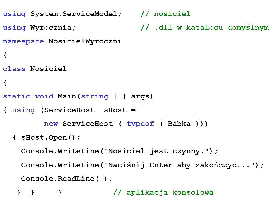 using System.ServiceModel; // nosiciel