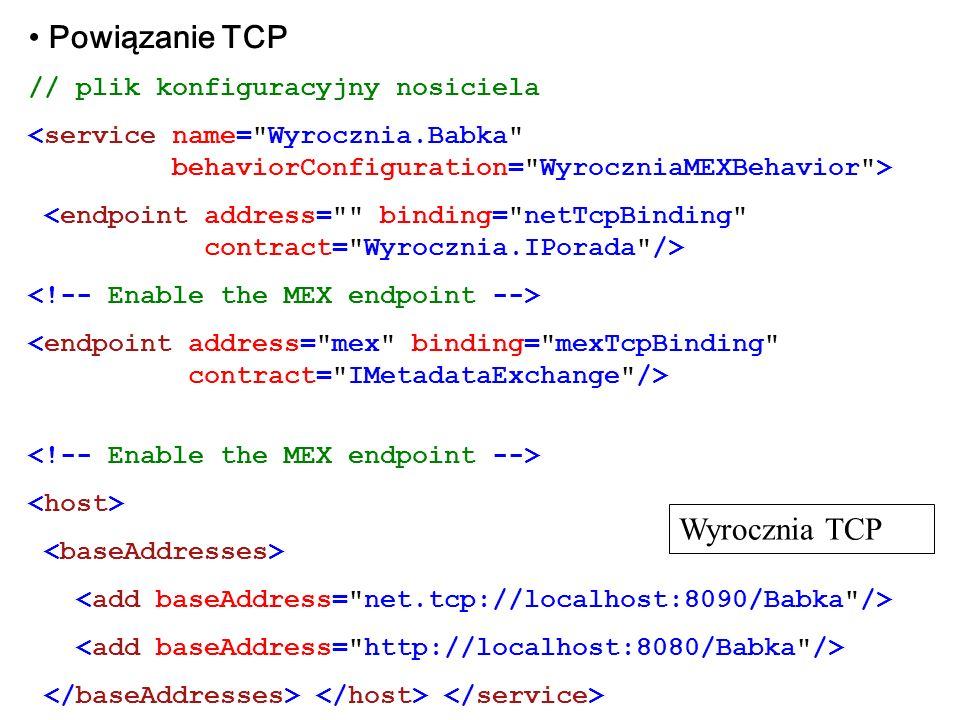 Powiązanie TCP Wyrocznia TCP // plik konfiguracyjny nosiciela