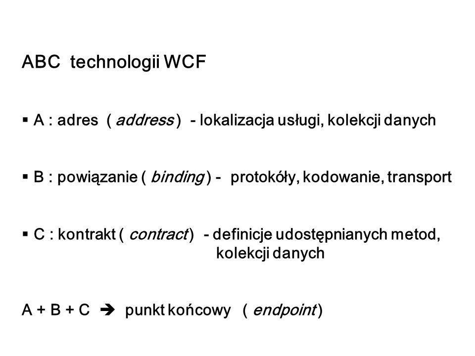 ABC technologii WCF A : adres ( address ) - lokalizacja usługi, kolekcji danych. B : powiązanie ( binding ) - protokóły, kodowanie, transport.