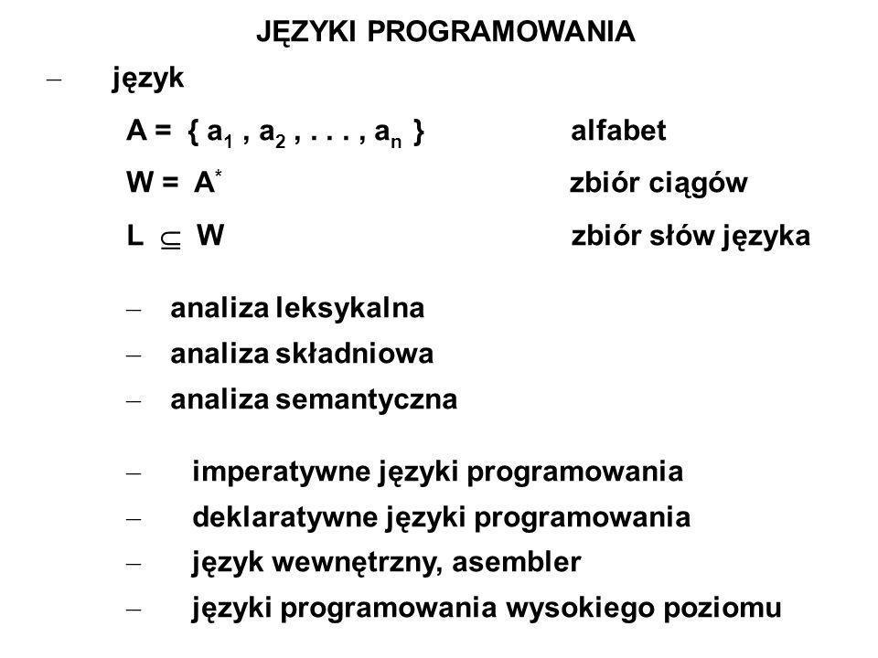 – imperatywne języki programowania – deklaratywne języki programowania