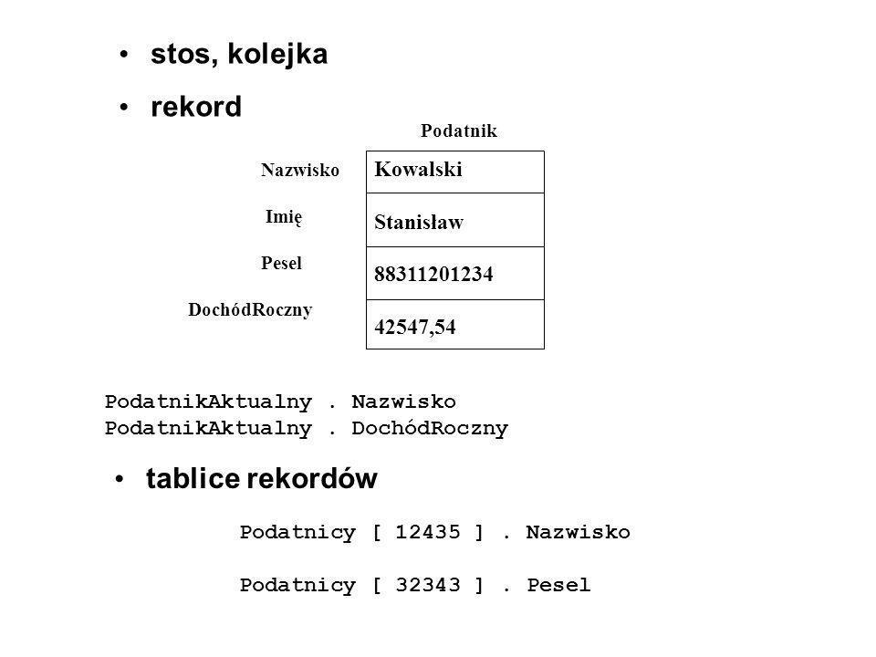 • stos, kolejka • rekord Kowalski Stanisław 88311201234 42547,54