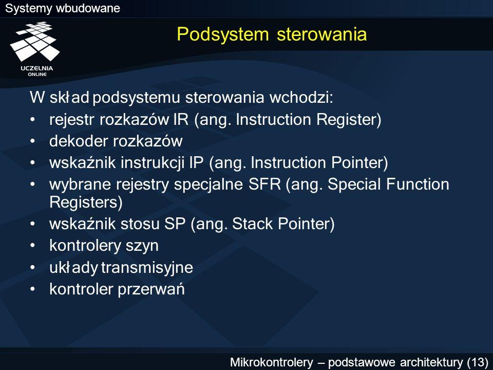 Podsystem sterowania W skład podsystemu sterowania wchodzi: