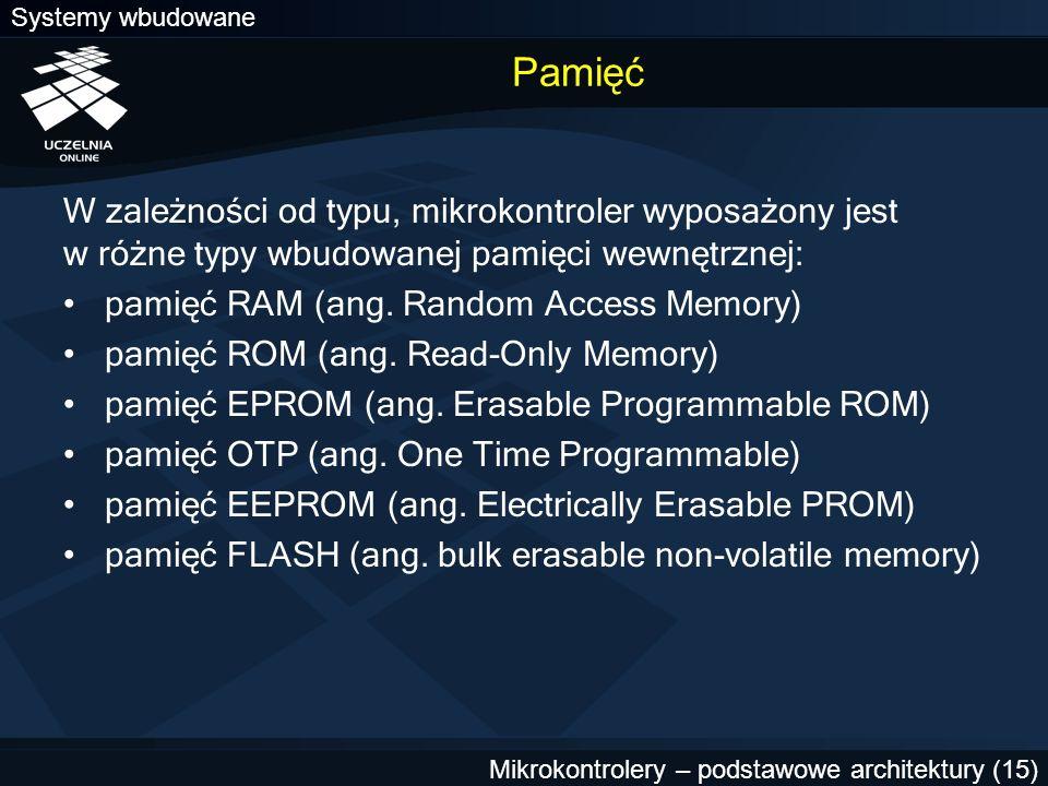 Pamięć W zależności od typu, mikrokontroler wyposażony jest w różne typy wbudowanej pamięci wewnętrznej: