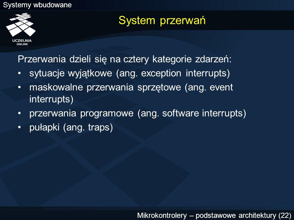 System przerwań Przerwania dzieli się na cztery kategorie zdarzeń: