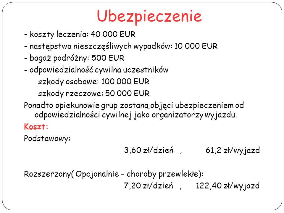 Ubezpieczenie - koszty leczenia: 40 000 EUR