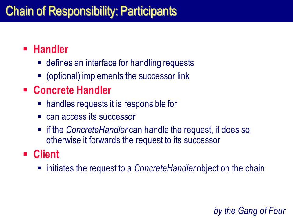Chain of Responsibility: Participants