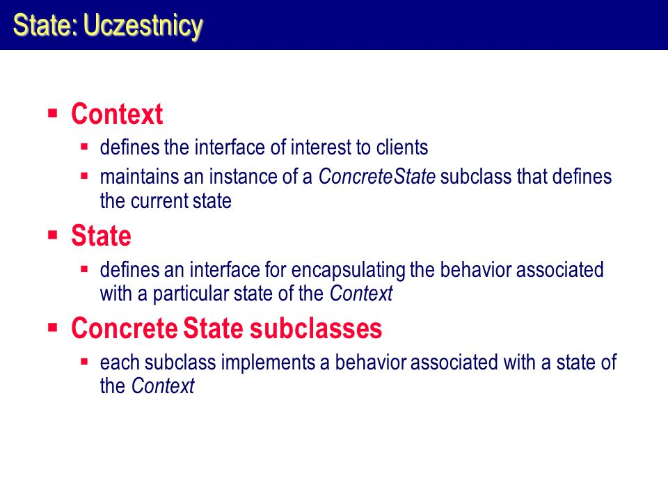 Concrete State subclasses