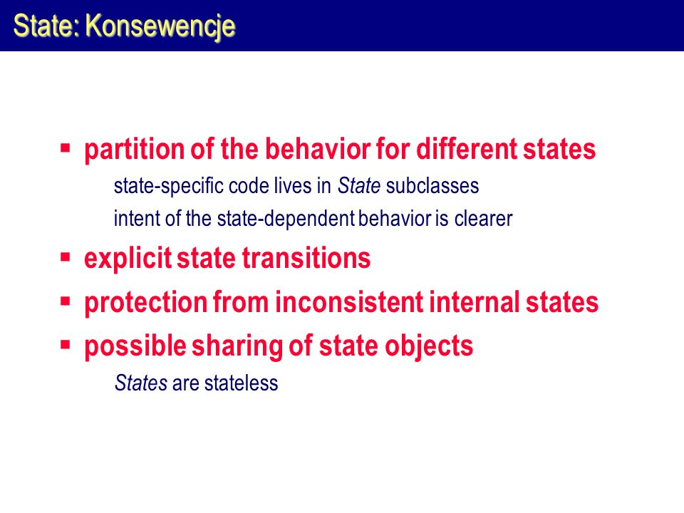 partition of the behavior for different states