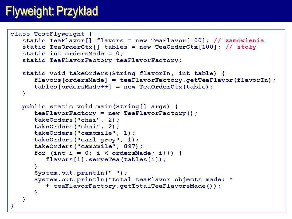 Flyweight: Przykład class TestFlyweight {