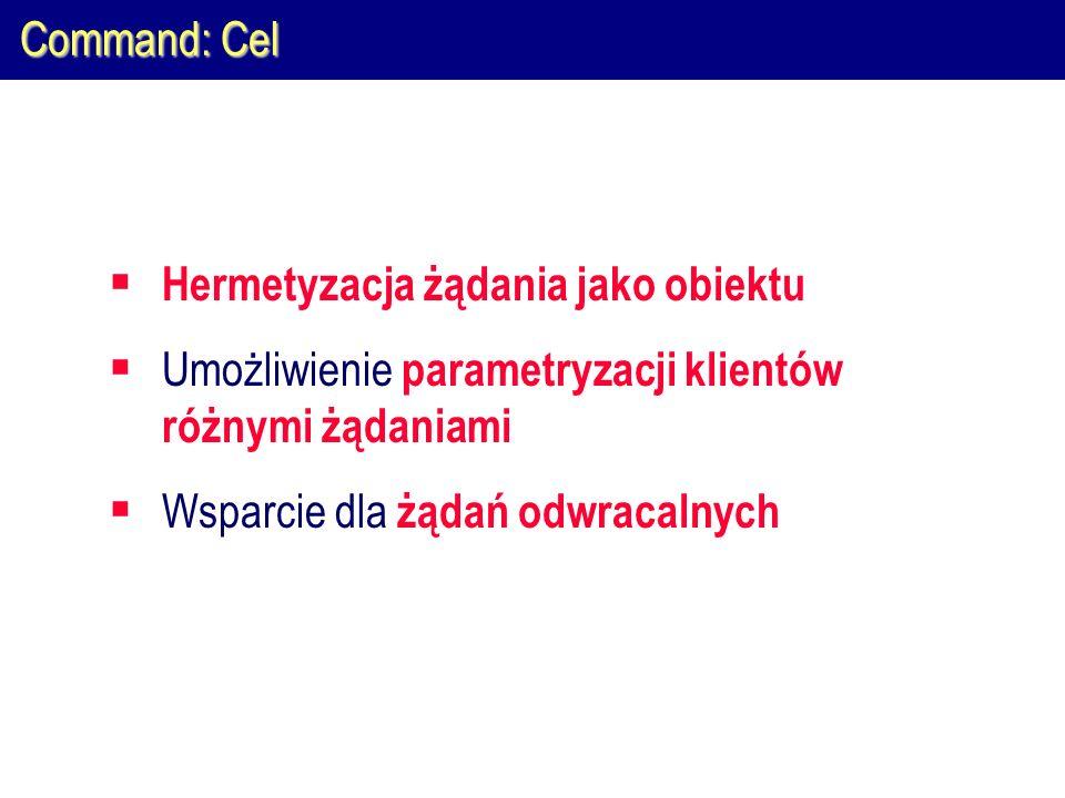 Command: Cel Hermetyzacja żądania jako obiektu. Umożliwienie parametryzacji klientów różnymi żądaniami.